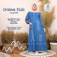 baju anak perempuan gamis muslim bahan jeans mix katun real pict-orian