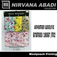 Kain Bahan Gamis Wolfis Wolpis Woolpeach Printing X1574 Premium