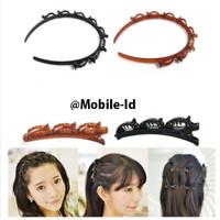 Termurah Korea Bando Jepit rambut fashion Double Layer Bangs Clip Head