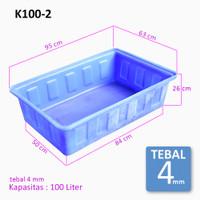 Perikanan Bak Plastik Persegi K100-2 kapasitas 100 Liter Tebal 4 mm