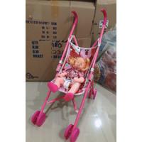 Mainan Stoller Boneka bayi / Dorongan bayi boneka cewe bisa nanggis