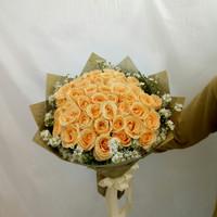 Buket bunga mawar peach asli fresh flowers
