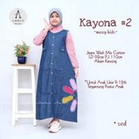 baju muslim anak perempuan bahan jeans mix katun real pict-kayona2