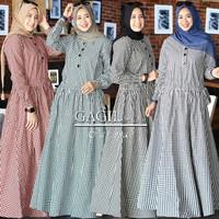 Baju Gamis Syari Wanita Terbaru Parissa Maxy Dress Katun Kotak Murah
