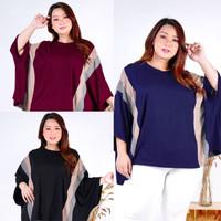 Blouse Batwing Wanita Jumbo LD 202 5XL Atasan Kaos Big Size Cappuccino - Hitam