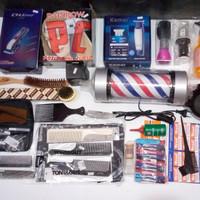 paket hemat alat cukur rambut + lampu barber pole sisir dan gunting