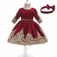 Dress anak perempuan baju pesta ulang tahun gaun penganti pakaian anak - Maron, 120
