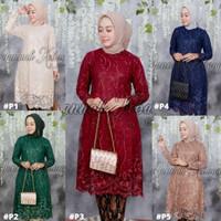 Atasan Kebaya Wanita Tunik Tulle Muslim Padang Maroon Dan Warna Lain