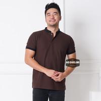Polo Shirt Kaos Polo Pria Kerah Shanghai Coklat Tua JUMBO BIG SIZE