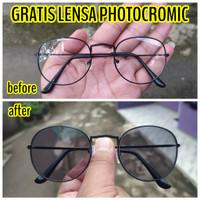 kacamata lensa photocromic pria wanita minus bulat murah