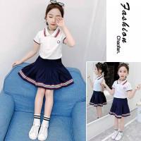 setelan baju kaos polo rok mini anak perempuan cewe import korea 3-5th