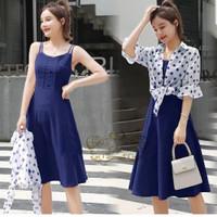 dress laila navy baju remaja set cardi korean style murah lal at