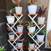 Rak pot bunga besi zigzag 5 susun - rak bunga-alas kayu minimalis