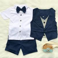 tuxedo bayi baju kondangan baby celana pendek - navy, size 1
