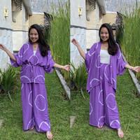 Set Outer Cardigan + Celana Kulot Shibori Tie Dye Rayon Bali