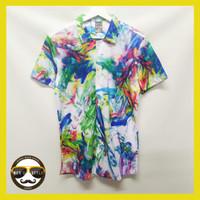 Baju Kemeja Printing Motif Pantai Hawai Pria Import Abstrak Colour - L