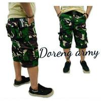 Celana pendek cargo pria loreng kantong samping-loreng army
