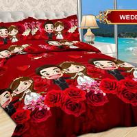Bedcover Bonita + Sprei Size 160 x 200 motif Wedding