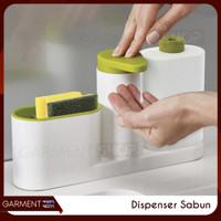 Dispenser Sabun Set 3 In 1 Tempat Sabun Cuci Piring Rak Wastafel Dapur