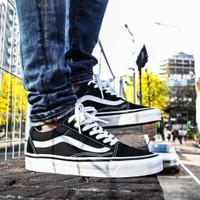 sepatu vans old school Pria hitam putih ukuran 36 - 45 - Hitam, 36