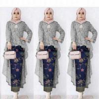 Setelan / Baju Kebaya Batik Wanita Muslim Brukat Jawis HQ