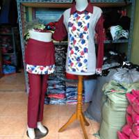 baju senam setelan rok motif bunga bahan denim spandex katun