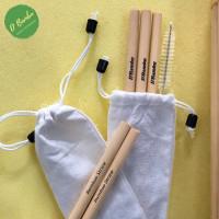 Sedotan Bambu Premium Grafir (3 Pcs sedotan + Sikat & grafir) - Small
