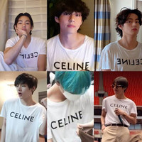 Kaos T-shirt BTS Jungkook Taehyung CELLINE
