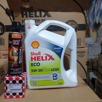paket oli shell helix eco 5w 30 + filter oli daihatsu + ucu injection