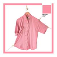 Kemeja Rayon lengan pendek santai pria dan wanita - Baron - Pink Plumeria, L