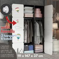 Lemari Pakaian Baju Rak Portable Anti Air Storage Totoro 4x3 - Putih