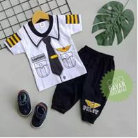 Setelan Baju Anak Bayi Laki Laki Sablon Pilot Usia 0-12 Bulan
