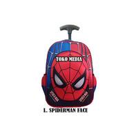 Tas Troli / Trolley Anak Sekolah uk. SD Hardcase Embos SPIDERMAN FACE