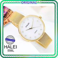 Jam tangan wanita HALEI original 556 rantai pasir water resistant - GOLD