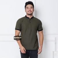 Polo Shirt Kaos Polo Pria Kerah Shanghai Hijau Army TNI JUMBO BIG SIZE