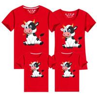 Kaos T-shirt Keluarga Motif Tahun Baru Cina Imlek 2021 SAPI KARTUN