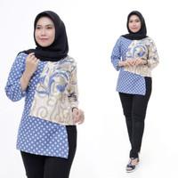 Blouse Batik Kembang Warna Soft Atasan Wanita Modern - Biru Muda, M