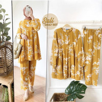 Set Piyama Katun Rayon Baju Tidur Wanita Lengan Panjang Motif Fit ToXL