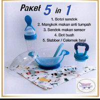 set alat makan bayi (mangkok makan + dot sendok + dot buah +celemek