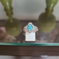 Cincin Perak Dilapisi Emas Putih Dengan Batu Permata Blue Safir