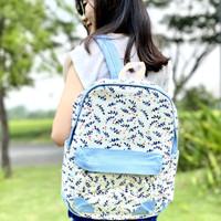 TAS RANSEL WANITA IMPORT KOREA KANVAS PREMIUM motif daun backpack - Biru Muda