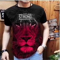 Baju Kaos Cowok Gambar SInga Strong Kuat harimau Lion Binatang Hitam