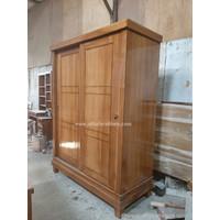 Lemari pakaian minimalis kayu jati 2 pintu sliding LM-1 (coklat muda)
