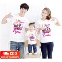 KAOS COUPLE FAMILY|BAJU ULANG TAHUN ANAK TEMA LOL -2 DEWASA 1 ANAK-