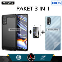 Case Realme 7 Pro Softcase + Tempered Glass Camera + Skin Carbon 3D