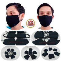 masker kain hitam polos 3 lapis/masker karet kuping