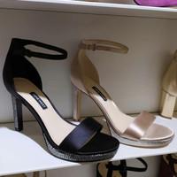 Sepatu Nine West Ori Murah SALE Ankle Strap Heels Black Beige 36 - 41
