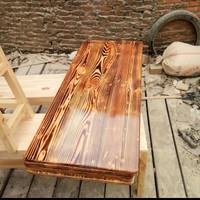 papan hambalan bahan kayu jati Belanda finising warna bakar