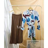 Calina Tunik Rayon One Set, Homewear, Busui Friendly - Biru-Cokelat