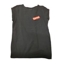 Baju Lengan Pendek Kaos Anak Baju Senam Import Katun Supreme Sport - Hitam, 6-8